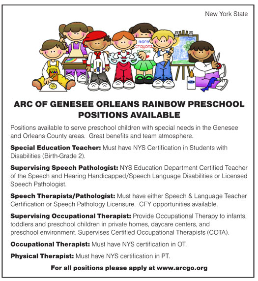 ARC of Genesee Orleans Rainbow Preschool Positions Available Special ...