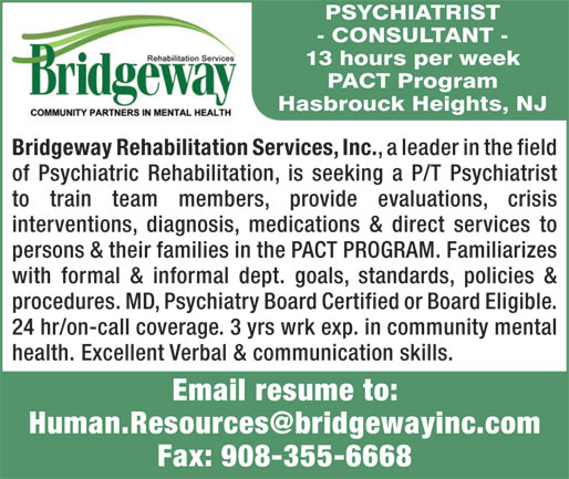 Psychiatrist Consultant Job In Hasbrouck Heights New Jersey