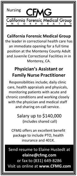 Physician S Assistant Or Family Nurse Practitioner Job In Monterey California Healthcare Jobs Recruitment