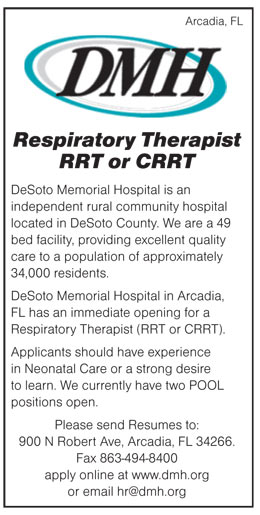 Respiratory Therapist Rrt Or Crrt Job In Arcadia Florida