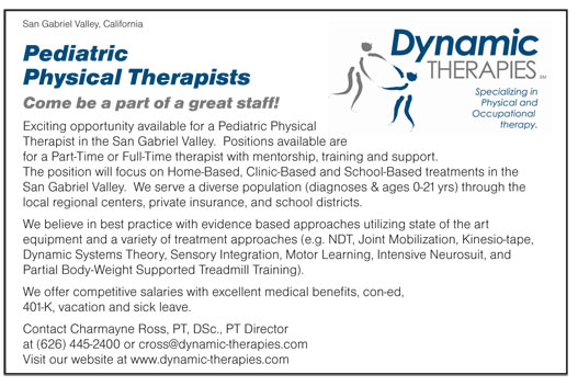Pediatric Physical Therapists Job In San Gabriel Valley California