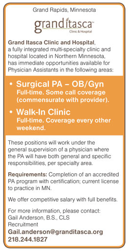 Physician Assistants Surgical OB/Gyn & Walk In Clinic job in Grand