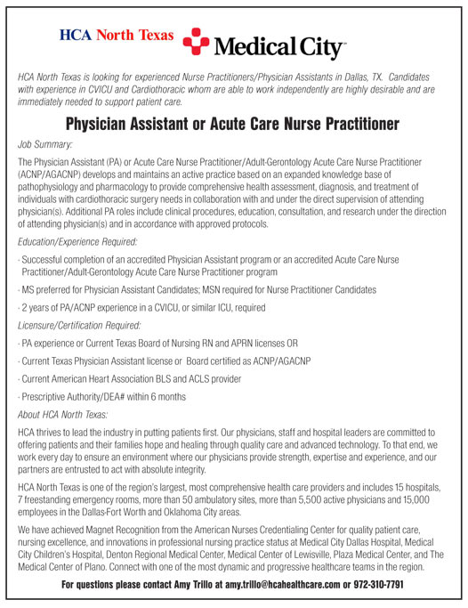 Physician Assistant Or Acute Care Nurse Practitioner Job In Dallas