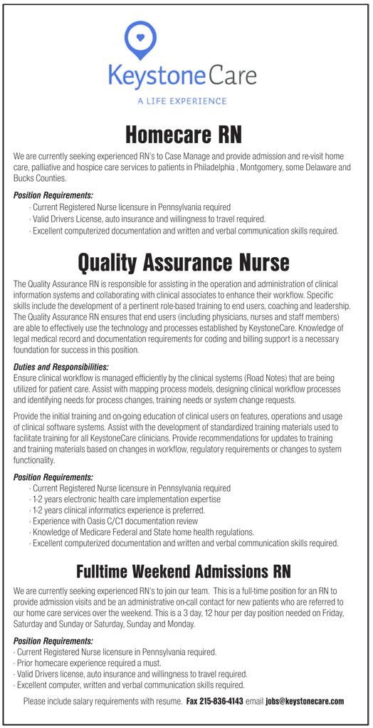 Homecare Rn Quality Assurance Nurse Fulltime Weekend Admissions