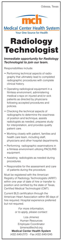 Radiology Technologist Job In Odessa Texas  Healthcare Jobs