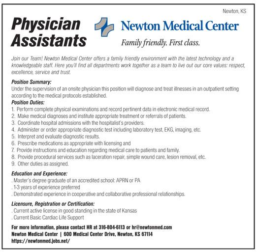 Physician Assistants job in Newton Kansas - Healthcare Jobs ...
