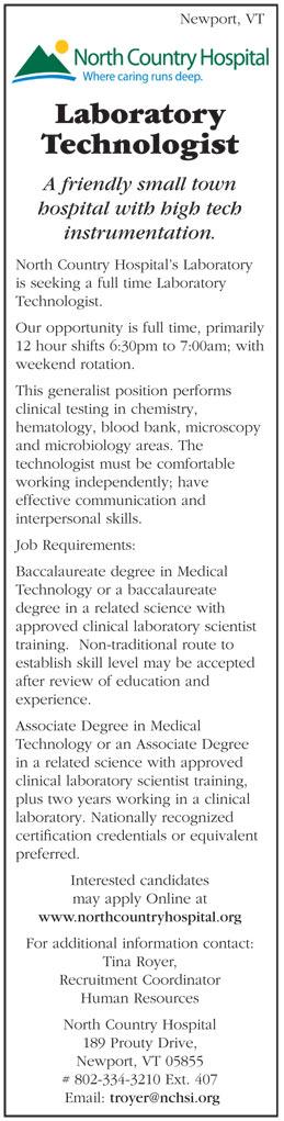 Laboratory Technologist job in Newport Vermont - Healthcare Jobs ...