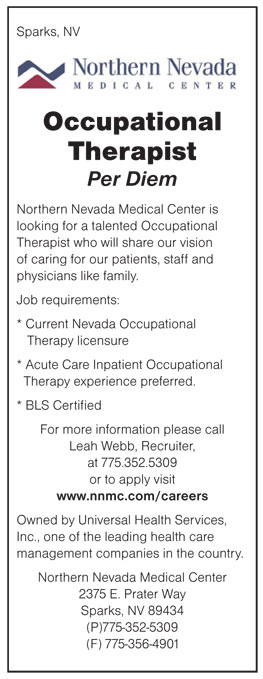 Occupational Therapist Per Diem Job In Sparks Nevada - Healthcare