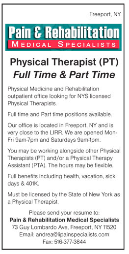 Physical Therapist (Pt) Full Time & Part Time Job In Freeport New