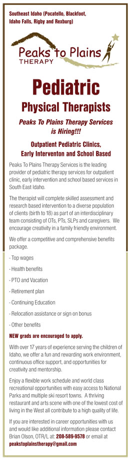 Pediatric Physical Therapists Job In Pocatello Blackfoot Idaho