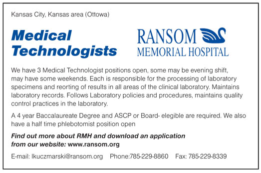 Medical Technologists Job In Kansas City Ottowa Kansas  Healthcare