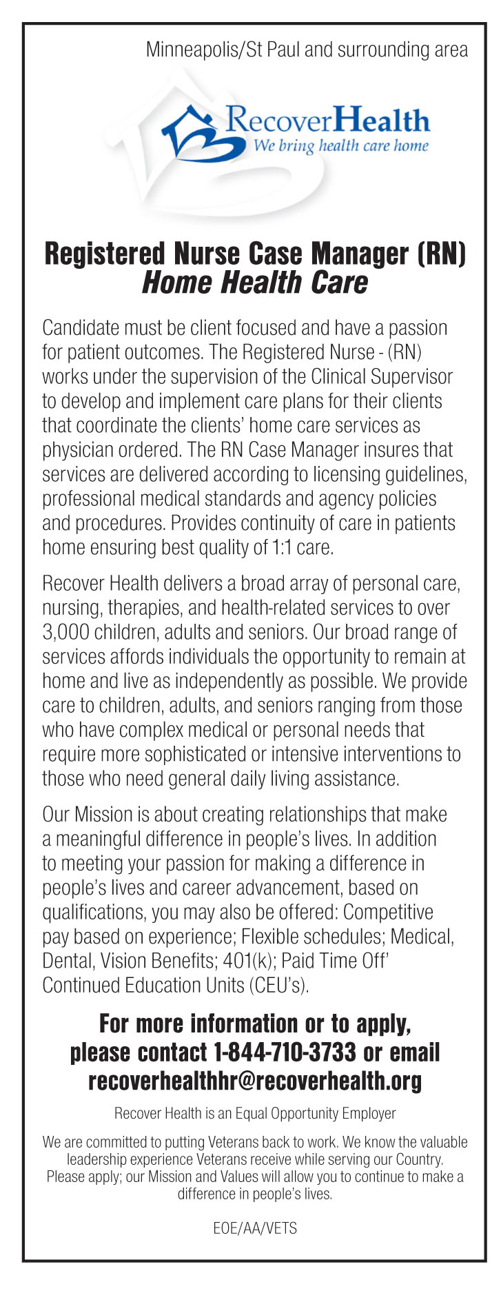 Registered Nurse Case Manager Rn Home Health Care Job In