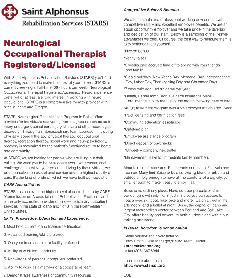 Neurological Occupational Therapist RegisteredLicensed Job In Boise