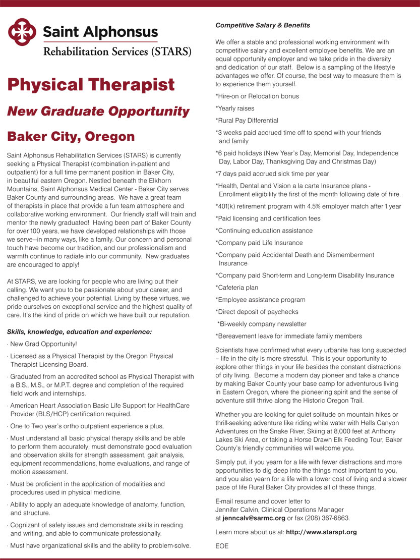 Physical therapist new graduate opportunity job in baker city physical therapist new graduate opportunity 1betcityfo Choice Image