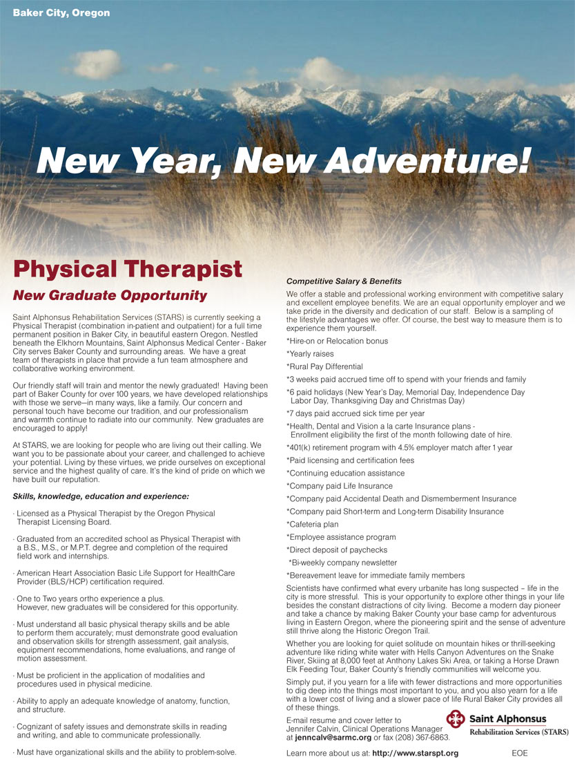 Physical Therapist New Graduate Opportunity job in Baker City Oregon ...