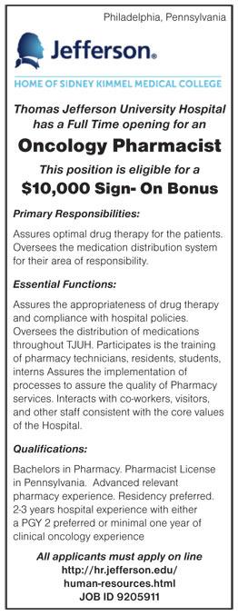 Oncology Pharmacist job in Philadelphia Pennsylvania - Healthcare ...