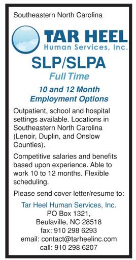 slp slpa full time job in southeastern north carolina healthcare