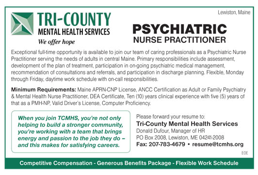 psychiatric nurse practitioner job in lewiston maine healthcare