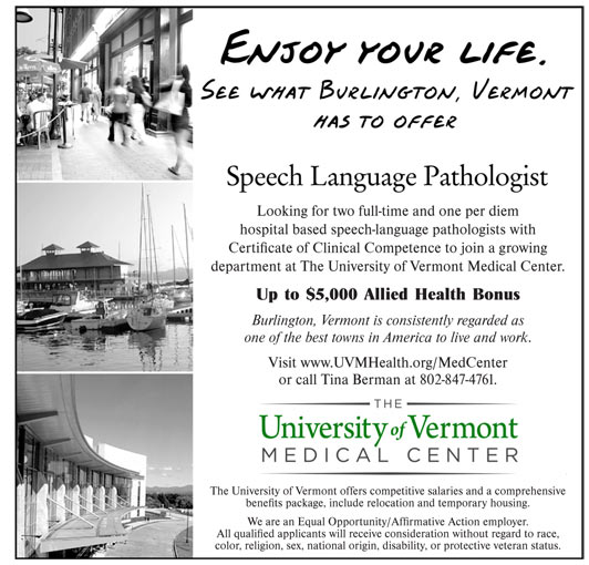 Speech Language Pathologist job in Burlington Vermont - Healthcare ...