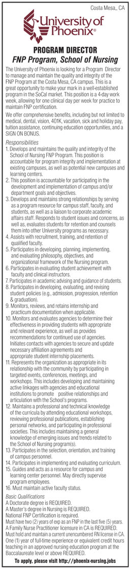 Program Director Fnp Program School Of Nursing Job In California