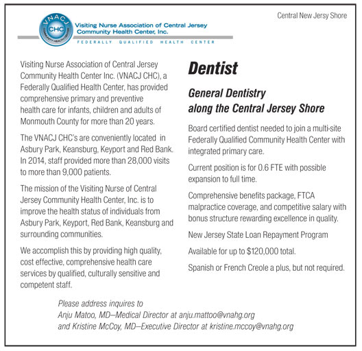 Dentist job in Central New Jersey Shore New Jersey